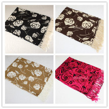 Valentine's Day Rose Cashmere Silk Design Super Soft Fashion Scarf Gift 4 Colors - $8.95