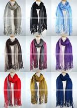 Winter Thick Scarf Warm Knit Tassel Fringe Fishnet Net Two Color Design ... - $12.83 CAD