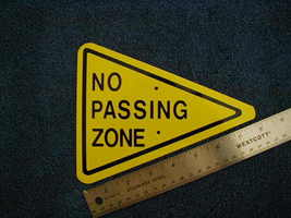 Mini Miniature No Passing Zone Traffic Signs Metal - $5.00