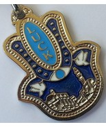 Upside hamsa keychain & travel bless Jerusalem and Luck mazal tov amulet... - £5.87 GBP
