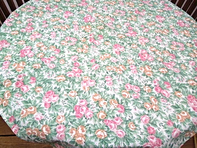 """39"""" Square Floral Tablecloth - Pink,Green, Gold - by Stevens Point #5050 - $14.99"""