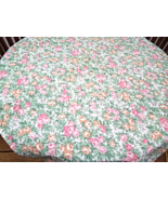 "39"" Square Floral Tablecloth - Pink,Green, Gold - by Stevens Point #5050 - $14.99"