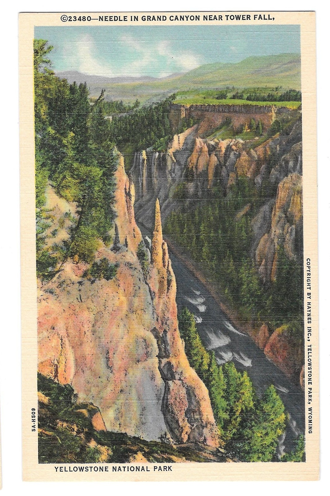 99 br 1925 1bx yellowstone needle in grand canyon near tower falls
