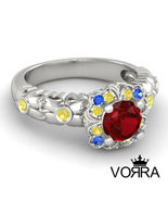 925 Sterling Silver Multicolor CZ For Princess Snow White Engagement Ring  - $63.99