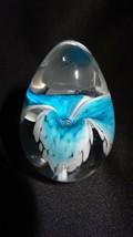 Glass Eye Studio Classic Series Aqua Flower Egg Paperweight 208S - $39.00