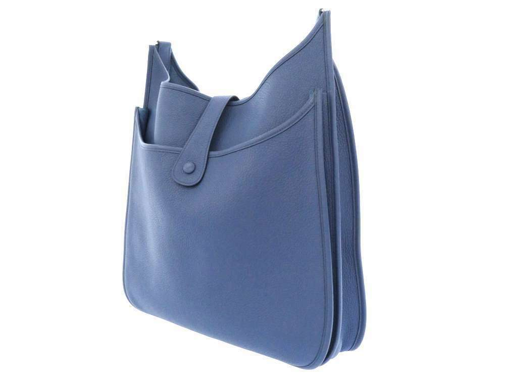 HERMES Evelyne 2 TGM Taurillon Clemence Blue Brighton Shoulder Bag #K Authentic image 2