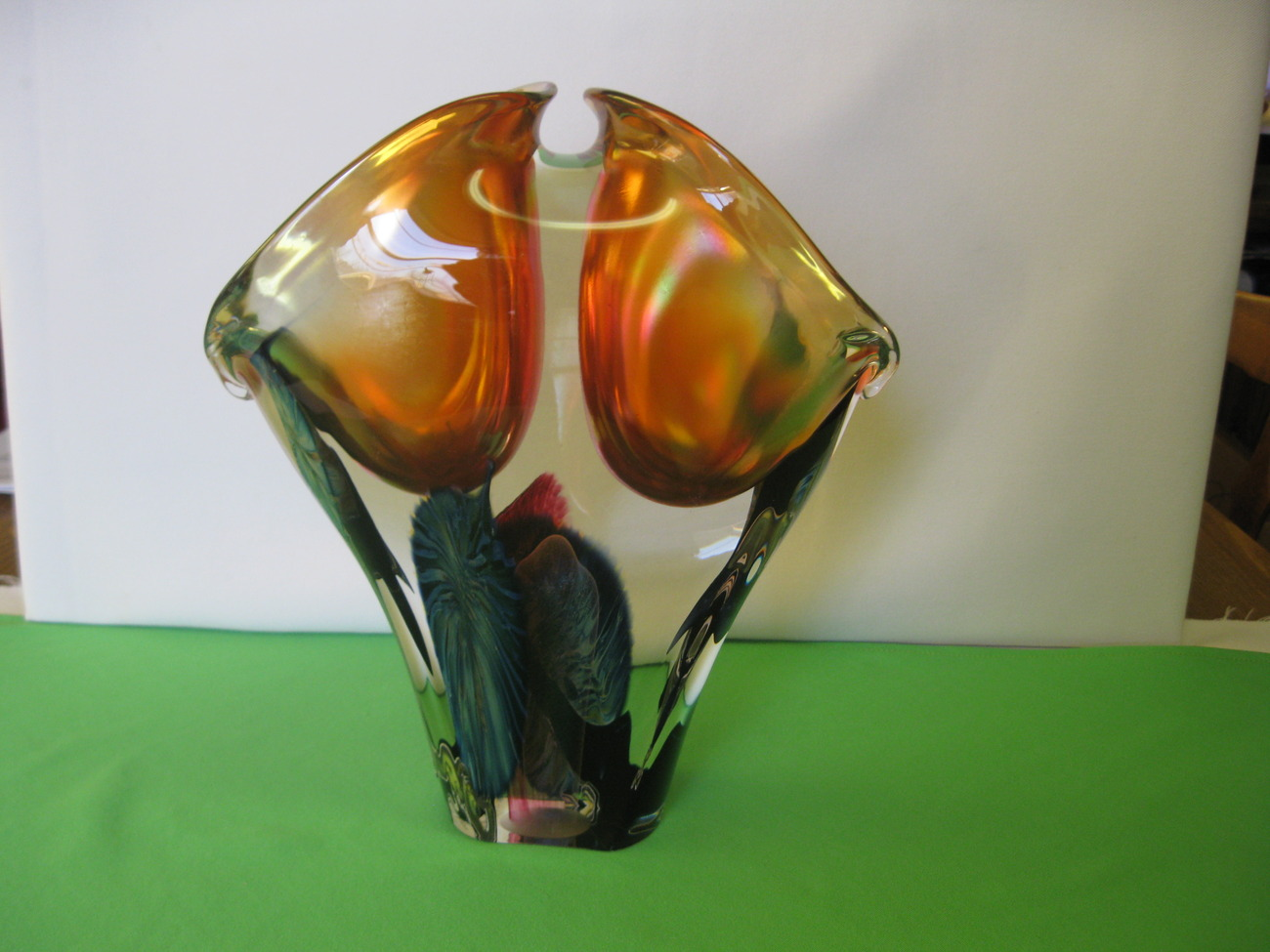 "Lotton Art Glass Organic Sculpture Hand Blown Double 12 1/4"" Vase Signed David"