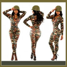 Army Green Camoflage Stretchy Long Sleeve Bodysuit Front Zip Up Catsuit