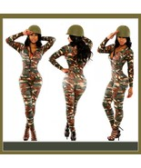 Army Green Camoflage Stretchy Long Sleeve Bodysuit Front Zip Up Catsuit - $58.95