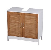 Bathroom Under Sink Cabinet Basin Storage Unit Cupboard 2 Bamboo Doors W... - €60,71 EUR