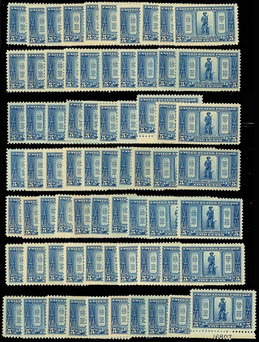 619, Mint LH 5c Minute Man - 70 COPIES! - Generally VF & Fresh! Cat $1,050.00