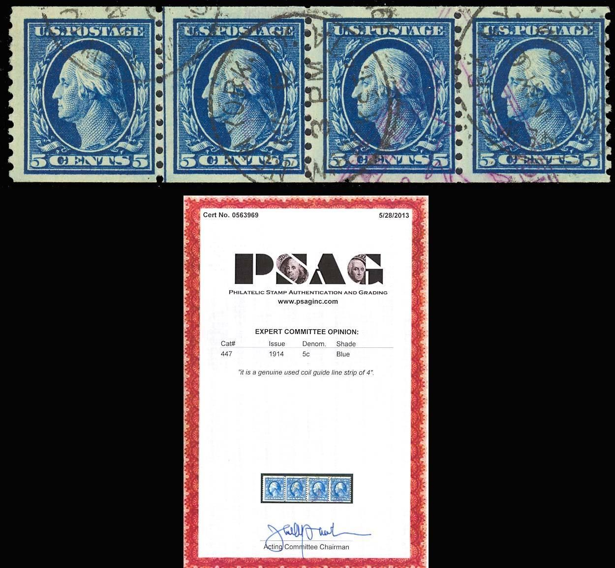 Primary image for 447, Used 5c coil line strip of four. - PSAG Cert - Very Rare! Cat $1,325.00
