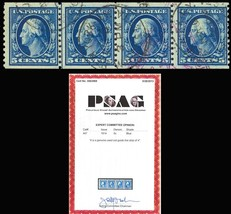 447, Used 5c coil line strip of four. - PSAG Cert - Very Rare! Cat $1,32... - $425.00
