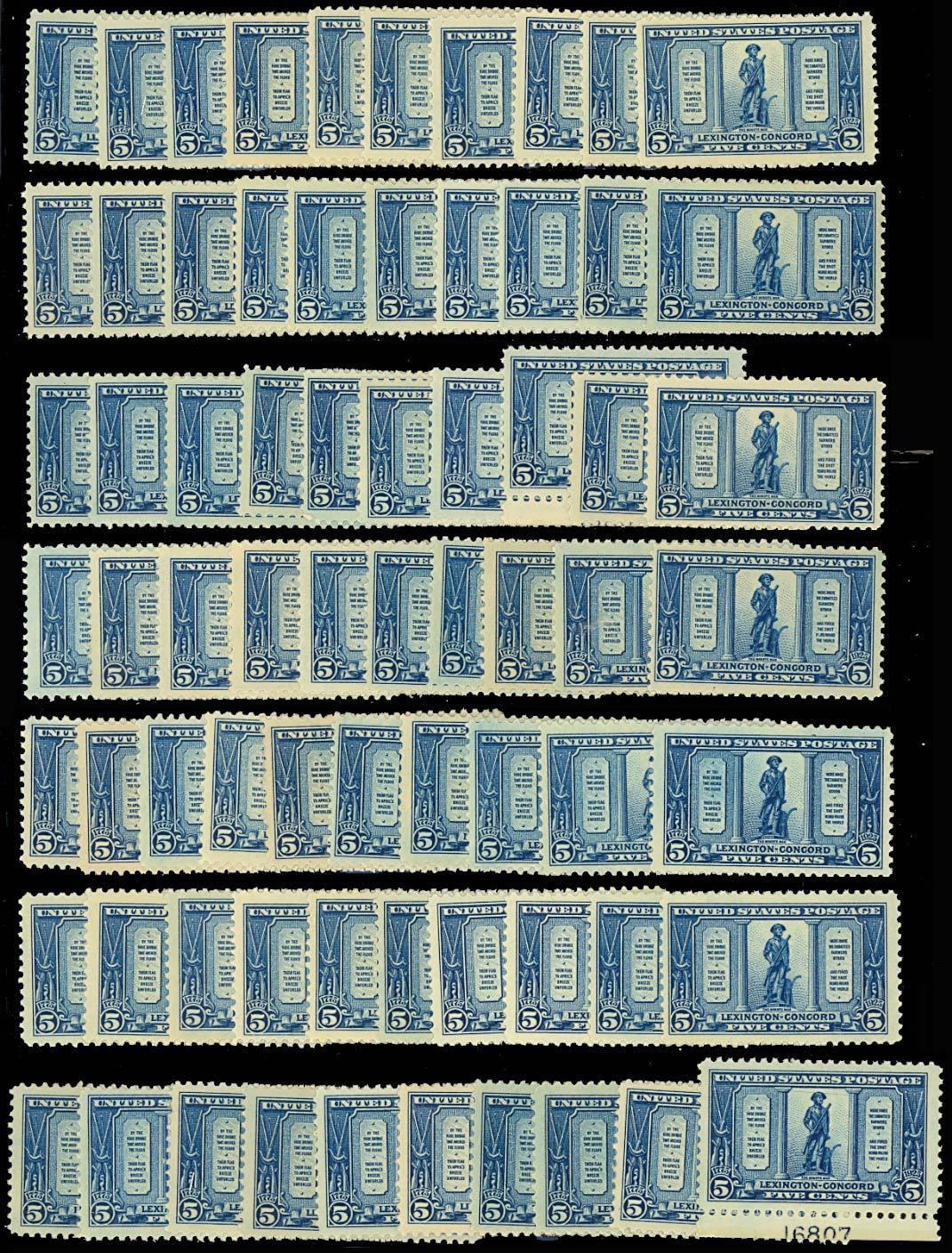 619, Mint LH 5c Minute Man - 70 COPIES! - Generally VF & Fresh! Cat $1,050.00 image 2