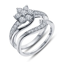 Flower Engagement + Band Ring Round Cut Diamond 14Kt White Gp Bridal Set - $50.99