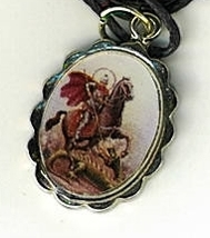 Necklace - San Jorge Medal & Holy Card - LH125.1092SA image 2