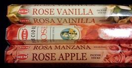 ROSE Rose Vanilla / Rose Apple 60 HEM Incense Stick Sampler Gift Set VAL... - $7.00