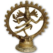 Natraj Shiva Tandav Metal Sculpture Brass Religious Symbols - $13.12