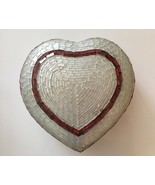 Handcrafted White/Red Mosaic Heart Shaped Trinket Dish With Lid - $16.83