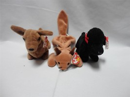 TY Beanie Babies Weenie Dog 1995 Sly Fox 1996 and Gigi the Poodle 1997 L... - $11.14