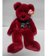 TY Beanie Buddy Teddy 1998 Cranberry Bear with Green Ribbon - $10.58