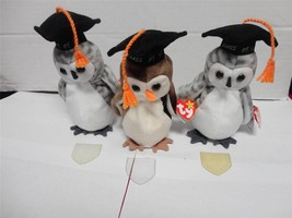 TY Beanie Baby Owls Wise Wiser and Wiser Class of 98 and Class of 99 Lot... - $15.00
