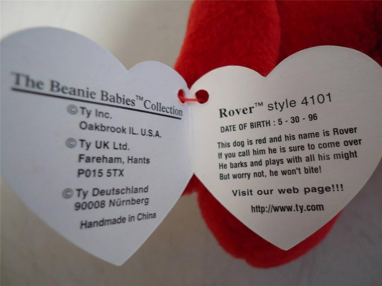 Ty Beanie Baby 1996 Rover the Red Dog Swing Tag Name and Style 4101 PVC Pellets