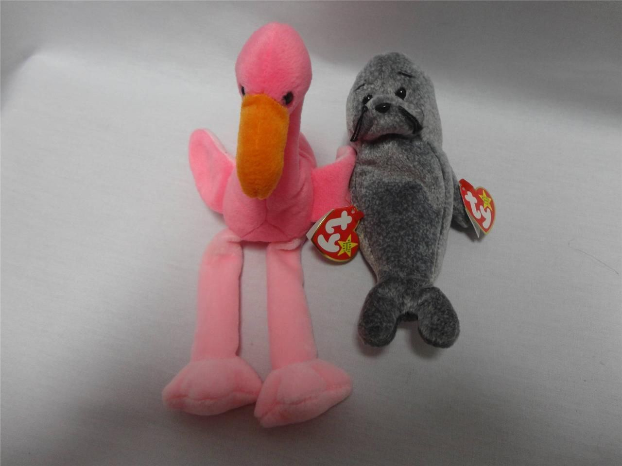 TY Beanie Babies Pinky the Flamingo 1995 and Slippery the Seal 1998 Lot of 2