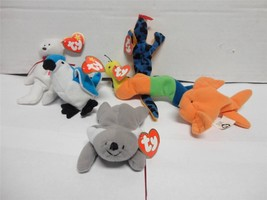TY Teenie Beanie Babies Inch Mell Lizz Maple Rocket and Goldie 1993 Lot ... - $15.00