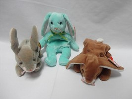 TY Beanie Baby Rabbits Hippity 1996 Ears 1995 Nibbly 1998 Easter Lot of 3 - $5.94