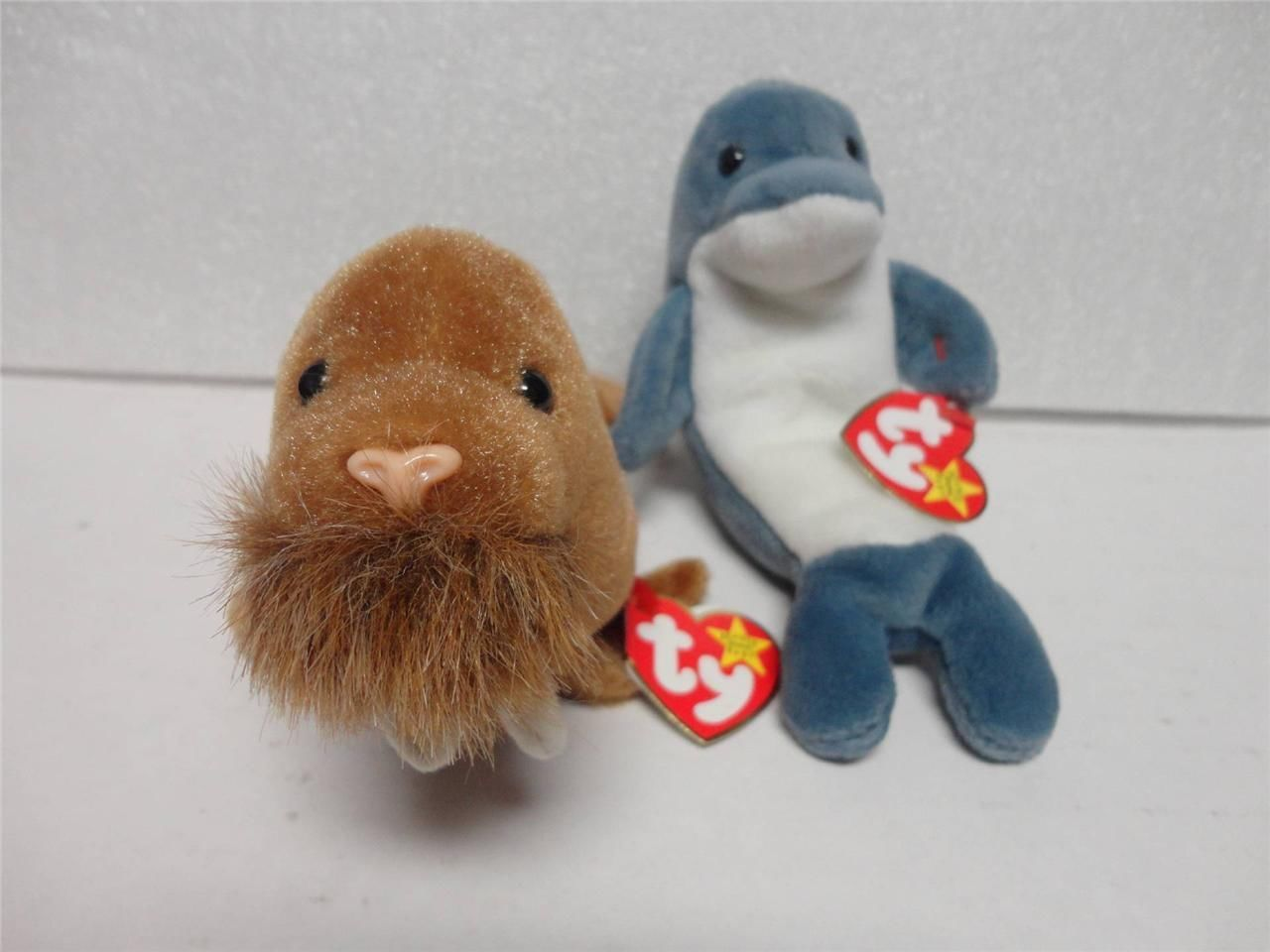 TY Beanie Baby Echo the Dolphin 1996 and Paul the Walrus 1999 with Tags Lot of 2
