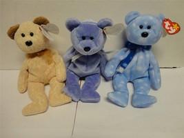 TY Beanie Baby Bears Huggy 2000 Clubby II 1999 and Holiday Teddy 1999 Lo... - $13.27