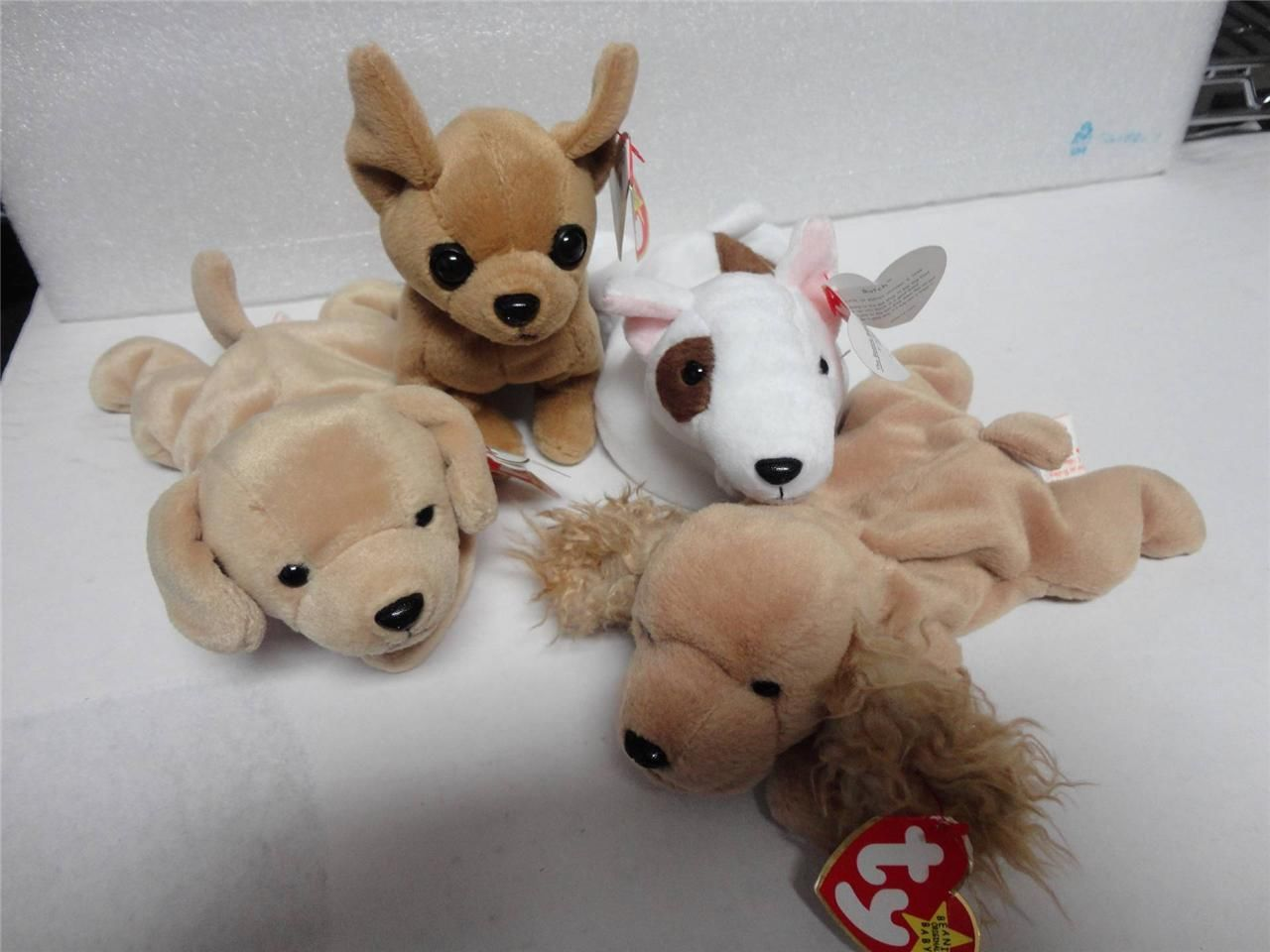 TY Beanie Baby Dog Pack Butch Fetch Tiny and Spunky 1978-1998 Lot of 4