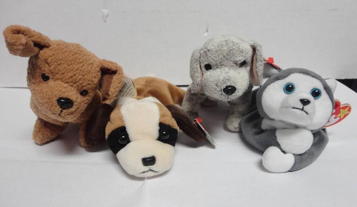 TY Beanie Baby Dogs Bernie 1996 Tricks 2000 Tuffy 1996 and Nanook 1996 Lot of 4