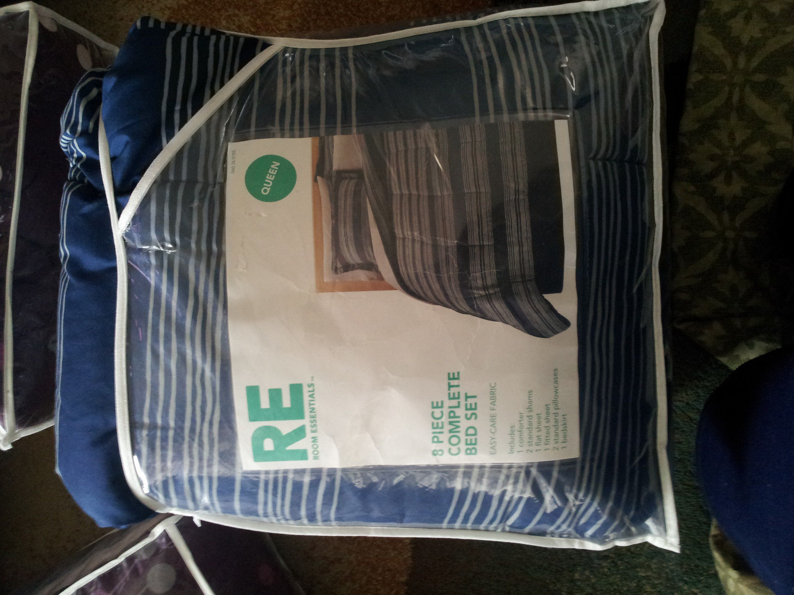 Room Essentials Blue and Gray Stripes Queen Size 8 Piece Bedding Set - $70.00
