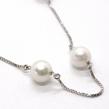 NECKLACE WHITE GOLD 18K, WHITE PEARLS 7.5 MM, AKOYA JAPANESE, CHAIN VENETIAN image 2