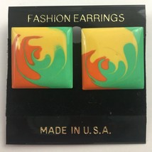 Vintage Enamel Swirl Square Shaped Earrings Pierced Colorful New Wave 80... - $7.87