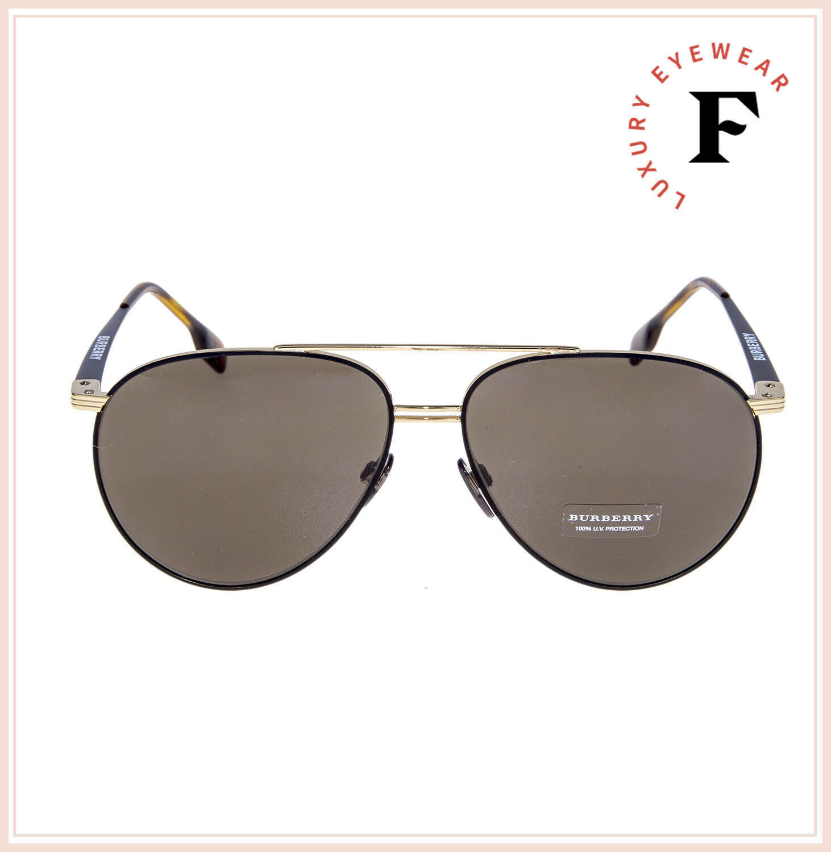 BURBERRY TOP BAR FLAT 3108 Aviator Matte Black Gold Sunglasses BE3108S Unisex