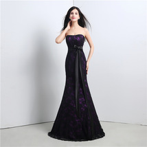 2018 Mermaid Streapless Black Lace Long Prom Dresses Formal Gowns Evenin... - $112.55