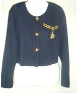 Vtg Crop Top Jacket Marnie West M Clock Retro embroidery art to wear USA - $29.69
