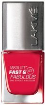 Lakme Fast and Fabulous Nail Color, Crimson Fire, 10ml [Health and Beauty] - $5.02