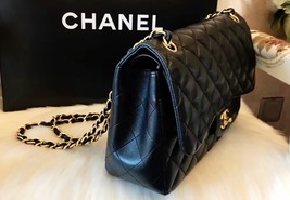 100% Authentic Chanel 2015 Black Quilted Lambskin Jumbo Classic DOUBLE Flap Bag  image 7