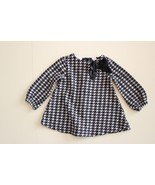 First Impressions Girls 0-3 M Houndstooth Black White Dress Tunic Bow - $10.86