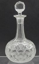 American Brilliant Period Cut Glass decanter,  Antique  ABP hobstar step neck - $92.22