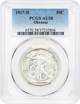 1917-D 50c PCGS AU58 (Obverse) Walking Liberty Half Dollar - Pretty! - $834.20