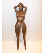 Vintage Hand Carved Wooden Sexy Nude Woman Nutc... - $48.95