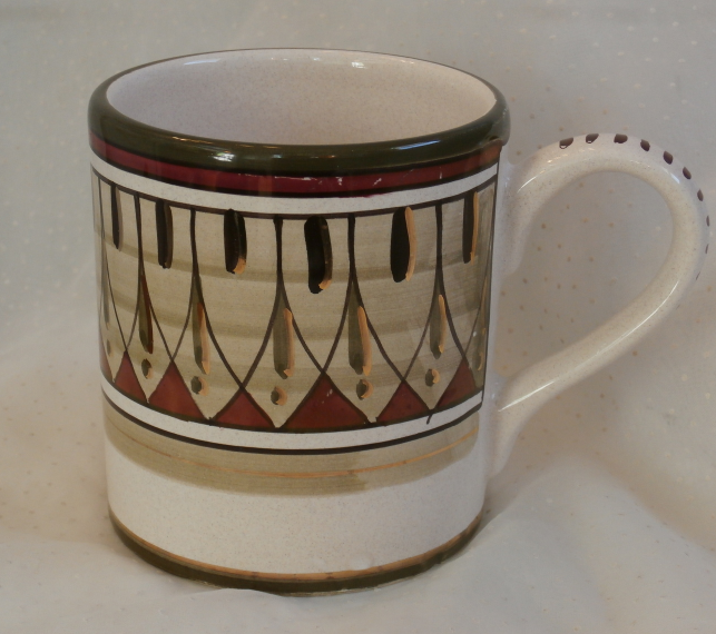 Sberna Deruta Coffee Mug with Gold, Green, and Wine Desing Made in Italy