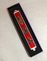 Judaica Mezuzah Case Burgundy Red Decorative Retro Stripe Silver SHIN 10 cm image 2