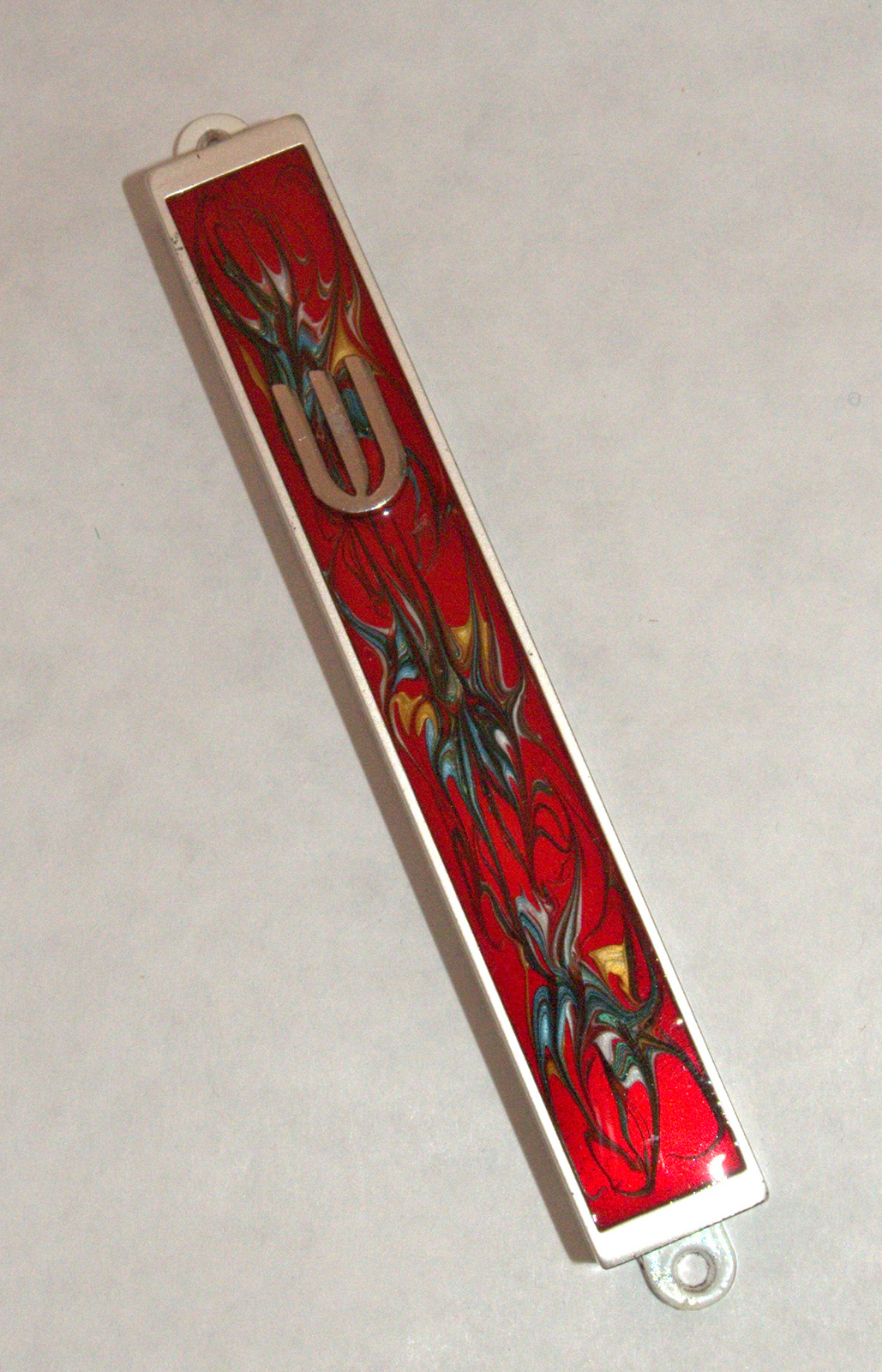 Judaica Mezuzah Case Burgundy Red Decorative Retro Stripe Silver SHIN 10 cm