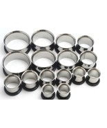 "STEEL TUNNELS PLUGS 00G, 7/16 1/2 9/16 5/8 3/4 7/8 1"" ear gauges - 8 Pairs - $22.79"